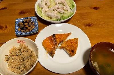 タンパク質の摂取量の実際夕食